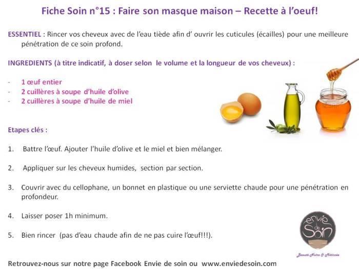 Fiche Soin 15 Faire son masque maison - recette à l'oeuf - BLOG ENVIE DE SOIN